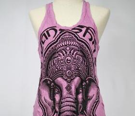 Ganesha Tank Top Yoga Singlet Purple Top Buddha Hindu God S M L XL