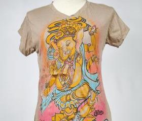 Ganesha T-shirt SIZE S ONLY Hindu God OM Hamsa Yoga Tee Brown Namaste Elephant